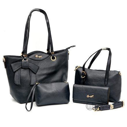 Classy Double Handle With A Bow Tote Bag Collection-Dark Blue