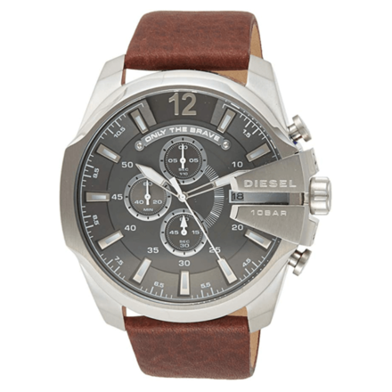 Diesel Men's Chief Stainless Steel Brown Leather Watch DZ4290