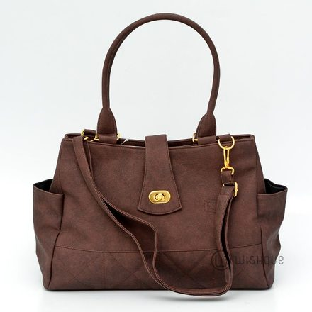 Mocha Brown Satchel With Side Pockets