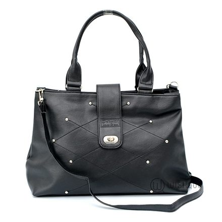 Studded Black Turnlock Closure Tote