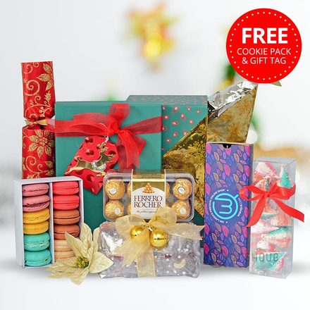 Christmas Bon Bon Luxury Goodies Hamper with Free Cookie Pack & Gift Tag