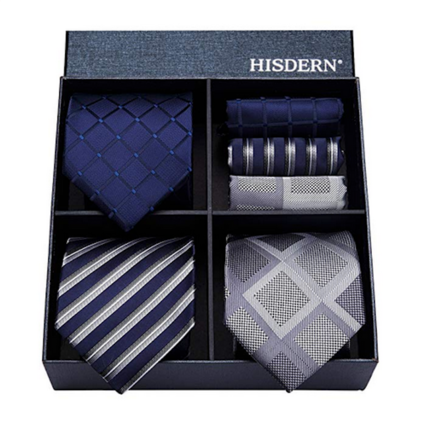 HISDERN Men's Business Party Necktie & Pocket Square Tie Collection - Blue & Ash