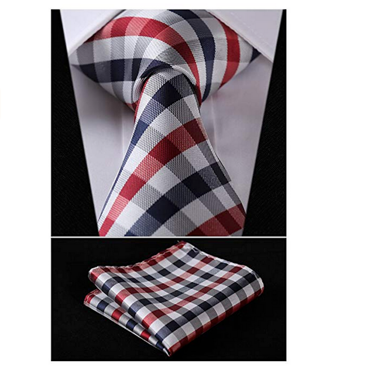 HISDERN Men's Business Party Necktie & Pocket Square Tie Collection - Red & Blue
