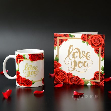 Love You Printed Mug & Greeting Card