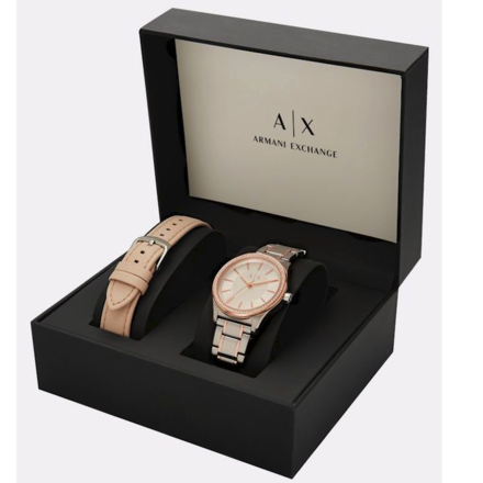 Armani Exchange AX7103 Rose Gold Bracelet And Leather Strap Watch Gift Set