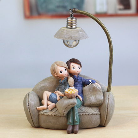 Movie Night Couple Ornament with Night Light