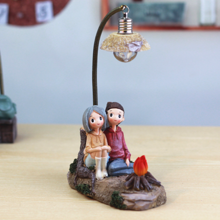 Romantic Camping Date Couple Ornament with Night Light