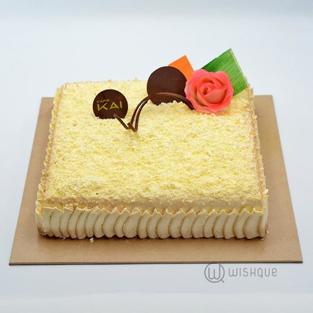 Hilton Butter Icing Covered  Square Ribbon Cake