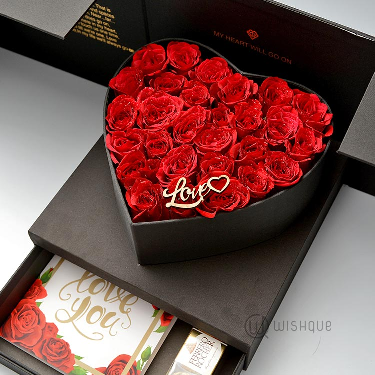 My Heart Will Go On Fresh Rose Heart Box With Drawer