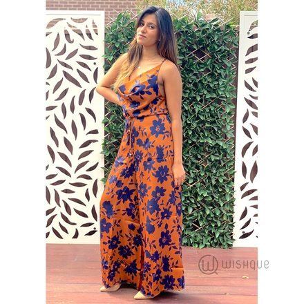 Copper/Navy Jumpsuit By Rushi Clothing