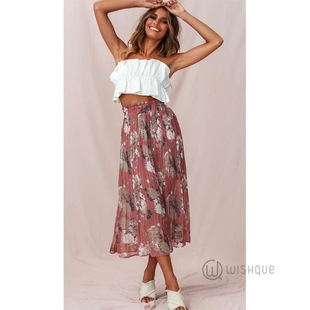 Dusty Rose Pleated Midi Skirt By Rushi Clothing