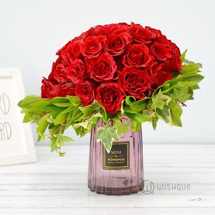 Autumn Lover 40 Red Roses Vase