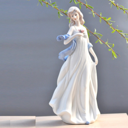 Lady With A Rose Porcelain Lady Figurine