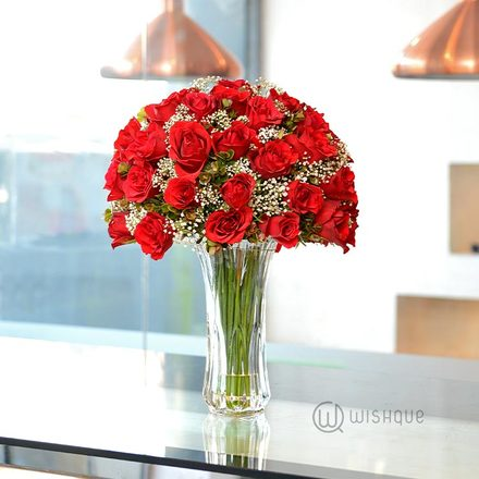 Remember Me 50 Fresh Red Roses Vase