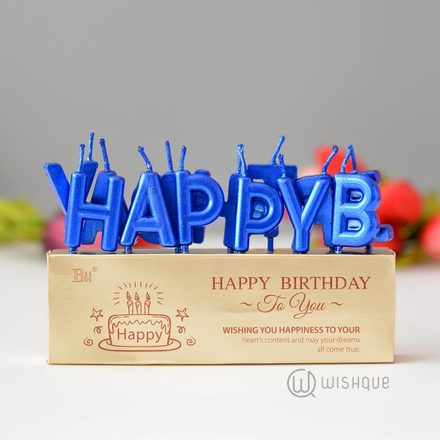 Happy Birthday Letter Candle Pack - Blue