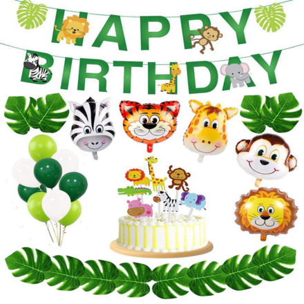 Animal Theme Birthday Party Decor Set
