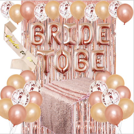 Bride To Be Rose Gold Theme Party Decor Set