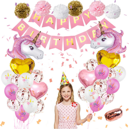 Unicorn Pink And Gold Theme Birthday Party Decor Set