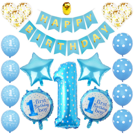 First Birthday Boy Theme Party Decor Set
