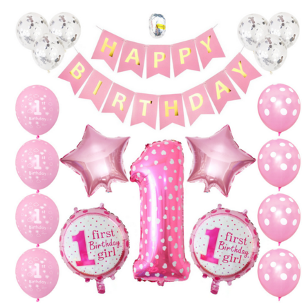 First Birthday Girl Theme Party Decor Set