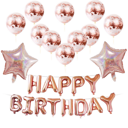 Happy Birthday Rose Gold Party Decor Pack