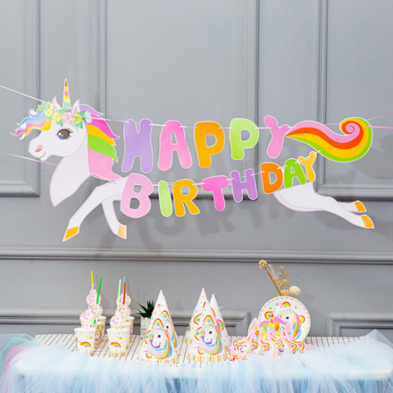 Unicorn Theme 6 People Party Accessory Set