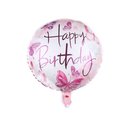 Happy Birthday Pink Butterflies Foil Balloon