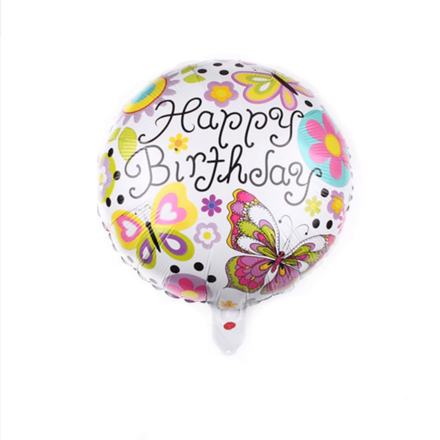 Happy Birthday Yellow & Pink Butterflies Foil Balloon