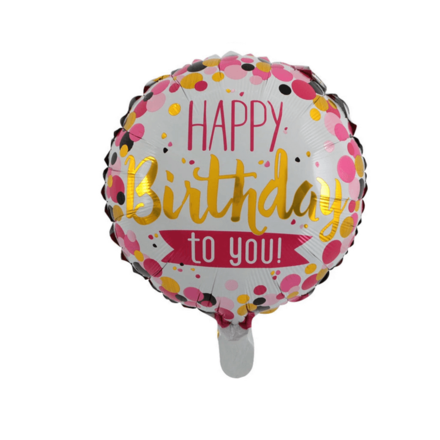Happy Birthday To You Pink & Gold Foil Balloon
