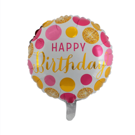 Happy Birthday Pink & Gold Dots Foil Balloon