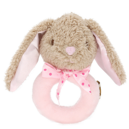 Classic Pink Rabbit Ring Rattle