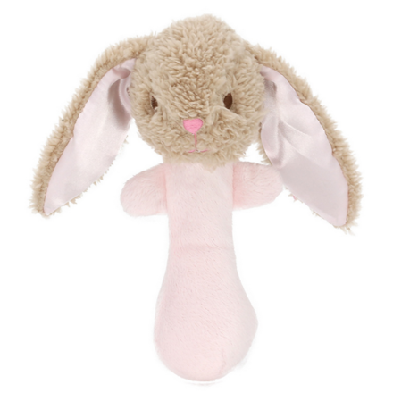 Classic Pink Rabbit Stick Rattle
