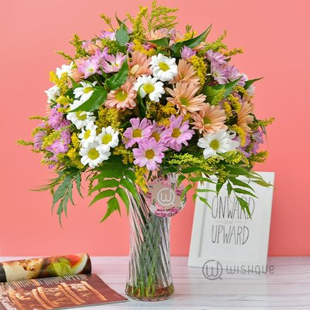 Colorful Life Chrysanthemum Vase Arrangement