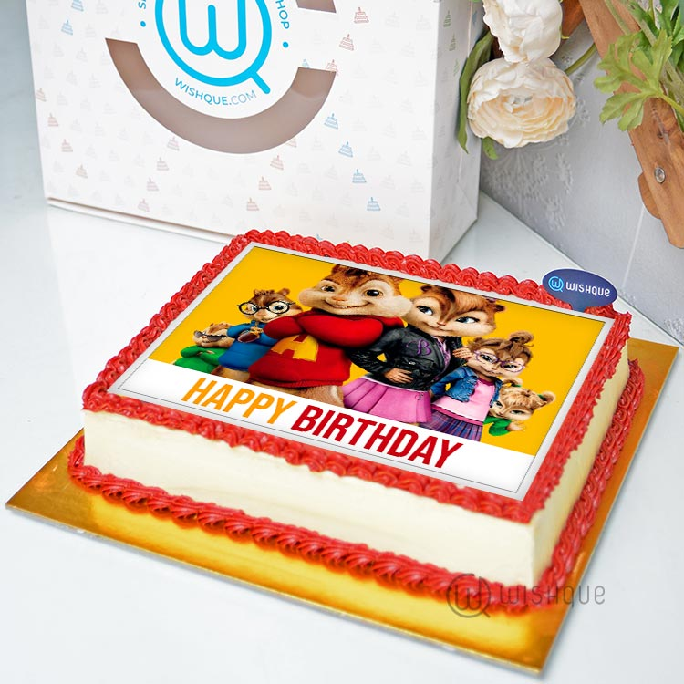 Incredible Alvin The Chipmunks Edible Print Cake 1 5Kg Wishque Sri Funny Birthday Cards Online Sheoxdamsfinfo