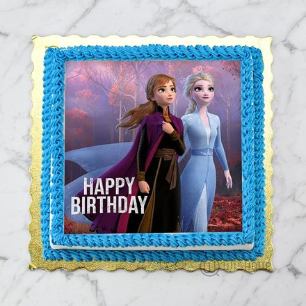 Elsa & Anna Snow Queens Edible Print Cake 1Kg