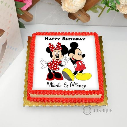 Mickey & Minnie Edible Print Cake 1kg