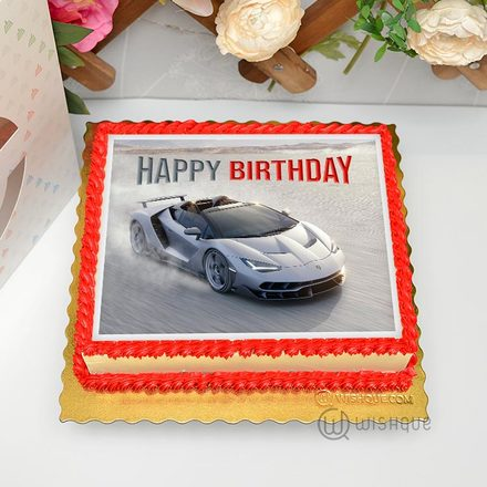 Lamborghini Sports Car Edible Print Cake 1.5Kg