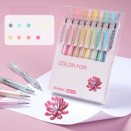 Multicolour Gel Pen Set - Pink Shades