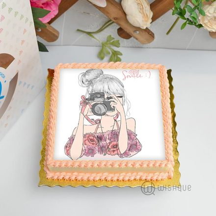 Smile Girl Edible Print Cake 1Kg