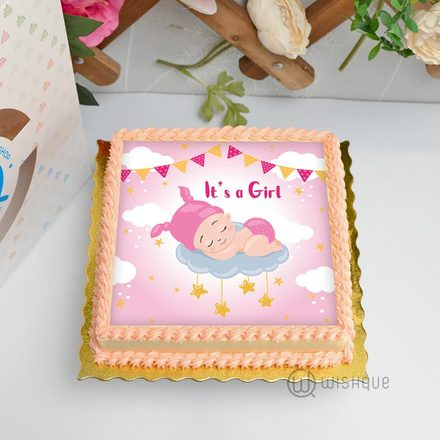 It's A Girl Edible Print Cake 1Kg