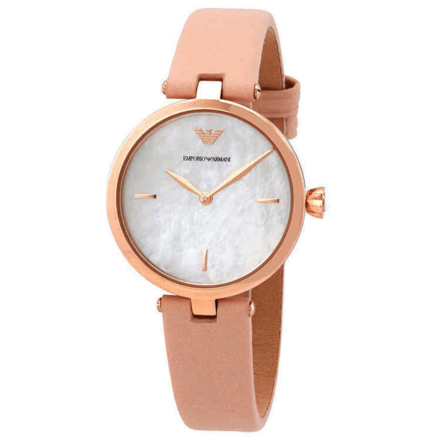 Emporio Armani Women's Quartz Watch analog Display and Leather Strap, AR11199