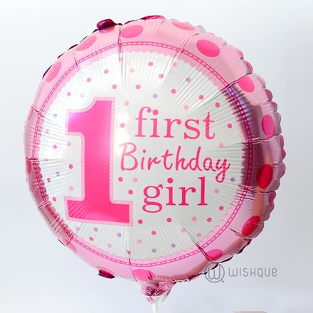 First Birthday Girl Foil Balloon