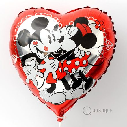 Mickey & Minnie Heart Shaped Foil Balloon