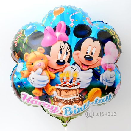 Happy Birthday Mickey & Minnie Foil Balloon