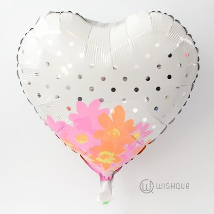 Silver Dots Heart Shape Foil Balloon