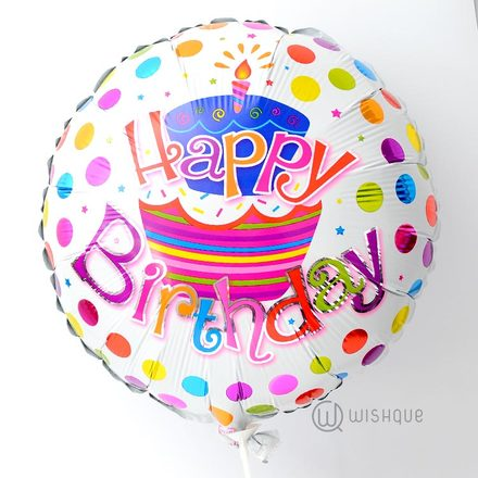 Happy Birthday Multicolor Dots Foil Balloon