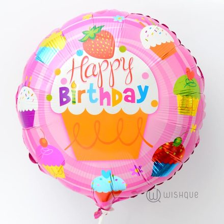 Happy Birthday Cupcakes Foil Balloon