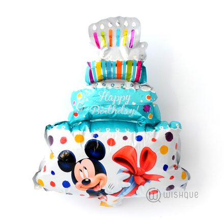 Mickey Mouse Blue Color Birthday Cake Foil Balloon
