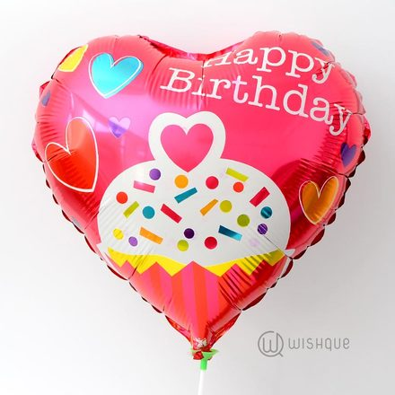 Happy Birthday Red Color Heart Shaped Foil Balloon