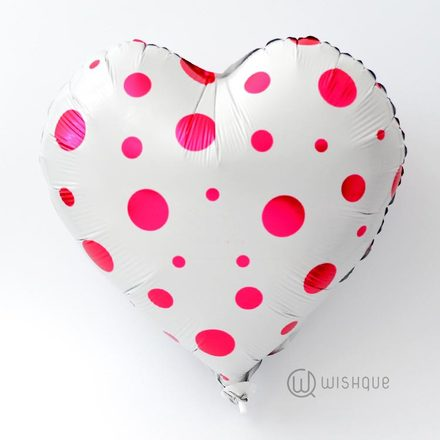 Polka Dots Heart Shaped Foil Balloon